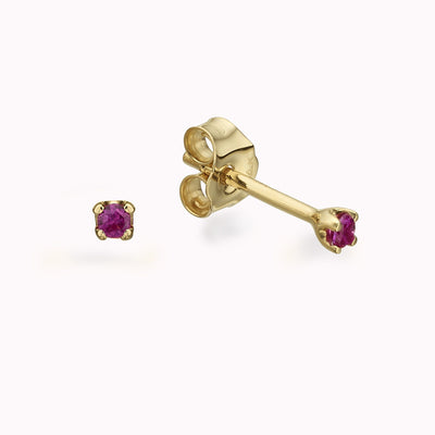 Tiny Ruby Gold Studs Earrings 14K Solid Gold 14k Yellow Gold