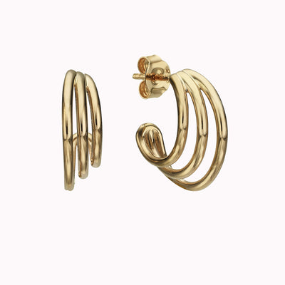 Triple Hoop Earrings Earrings Gold Vermeil Yellow Gold Vermeil