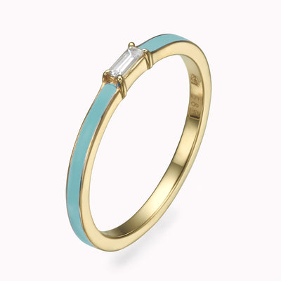 Turqouise Enamel Baguette Diamond Ring - Magal jewelry