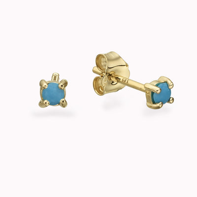 Turqouise Gold Studs Earrings 14K Solid Gold 14k Yellow Gold