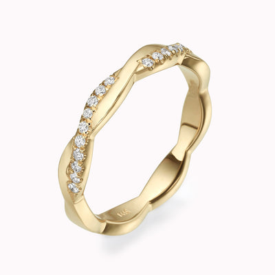 Twisted Diamond Eternity Ring Ring 14K Solid Gold 4 14k Yellow Gold
