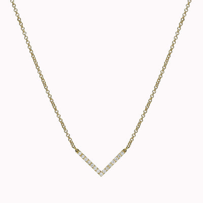 "V Diamond Necklace Necklace 14K Solid Gold 14k Yellow Gold Adjustable 16-17"" (40cm-43cm)"