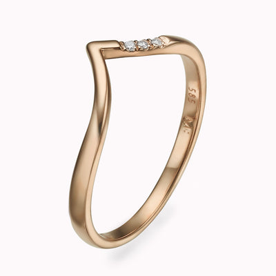 V Diamond Ring Ring 14K Solid Gold 4 14k Rose Gold