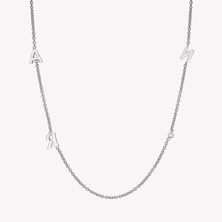 14k Gold Triple Asymmetrical Initials & Single Diamond Bezel Necklace Necklace 14K Solid Gold 14k White Gold A