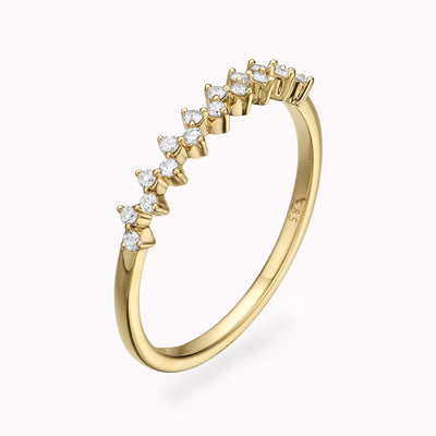 Zig Zag Diamond Ring Ring 14K Solid Gold 4 14k Yellow Gold
