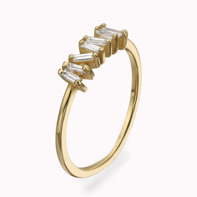 Ziggy Diamond Baguette Ring Ring 14K Solid Gold 4 14k Yellow Gold