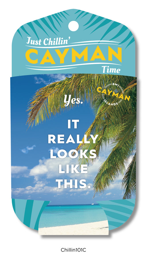 "Cayman Islands Can and Bottle full photograph Koozies featuring the ""Sorry, Not Sorry"" snarky tag line. Great for friends or family who can take a joke! Turtles, Stingrays, Sunset, Seven Mile Beach, 7MB, design options."