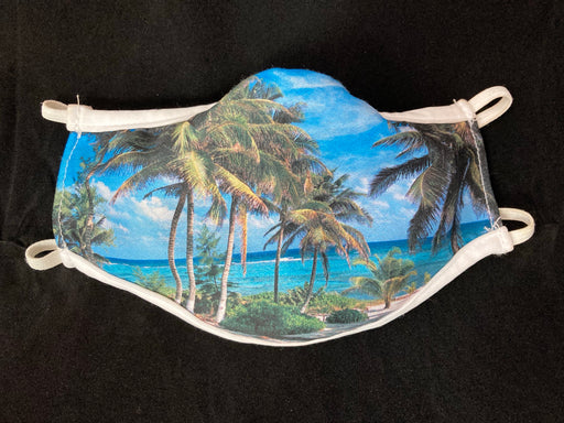 Cayman Islands Palm Trees Mask. 3-ply polyester mask with full color Cayman Islands Palm Tree photograph. Super comfortable, excellent photo reproduction & everyone loves them!