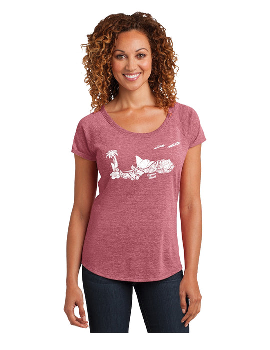 Cayman Island Map ladies T-Shirt