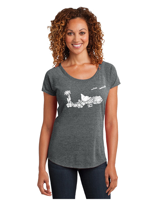 Cayman Islands Map T Shirt. One of a kind design! Look closely, the Cayman map design is made up of: fish, stingray, turtle, palm tree, flowers and other Cayman Islands flora and fauna. Cayman Islands Map T-Shirt.