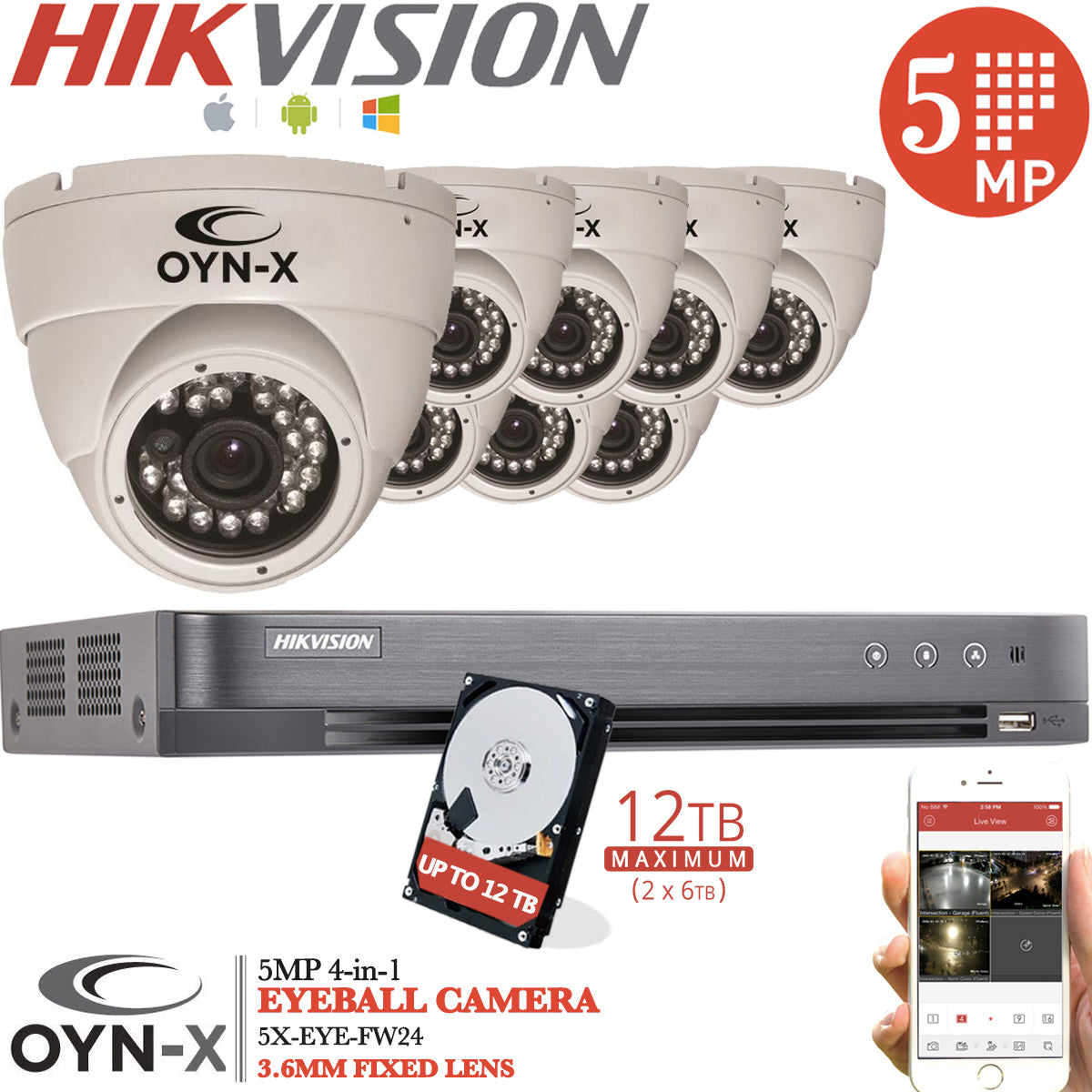 5MP CCTV KIT 8CH Hikvision DVR 8x OYN-X Camera (White)