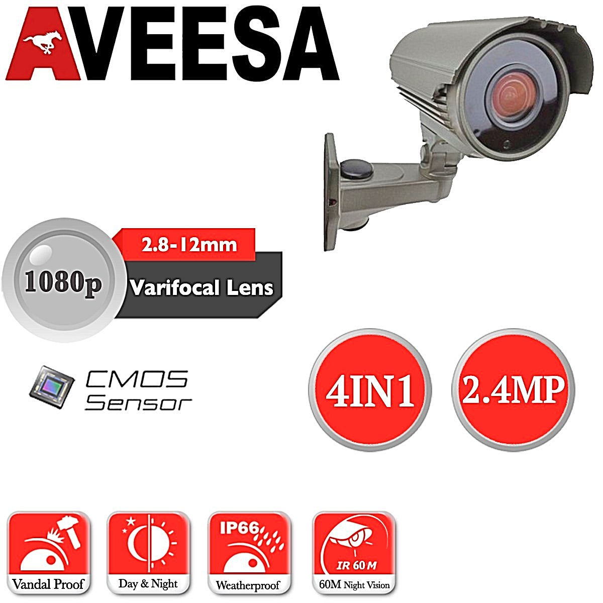 HIKVISION 4CH DVR Up to 4x AVEESA Bullet CCTV Camera