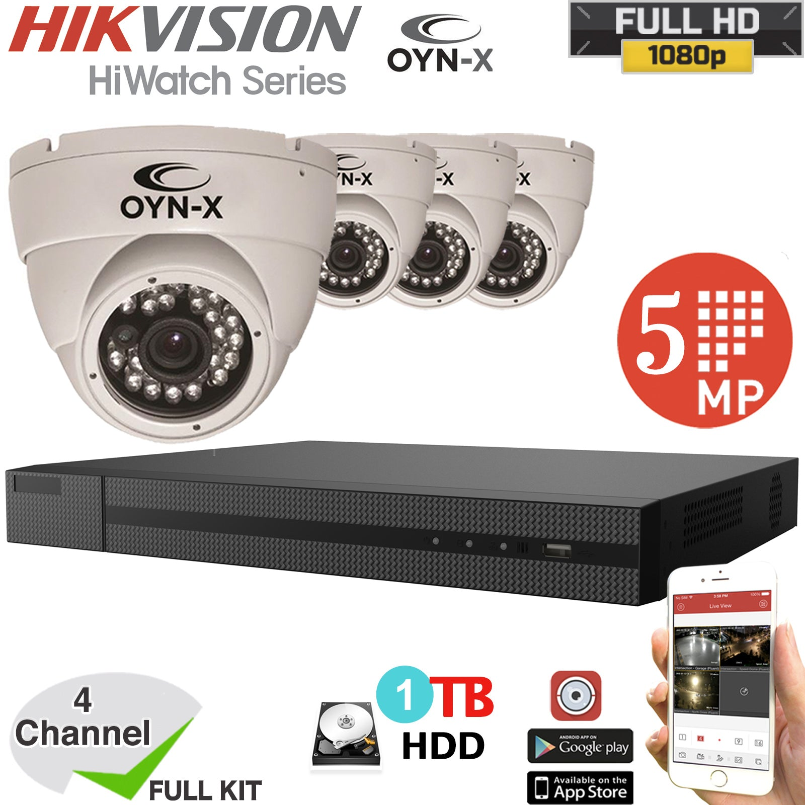 Hikvision Hiwatch 4CH DVR 5MP OYN-X Camera CCTV Security KIT 1TB HDD