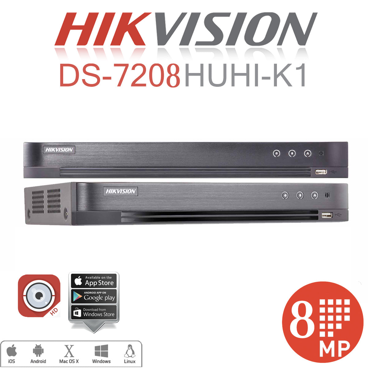 8CH Hikvision DS-7208HUHI-K1 DVR with 2TB Hard Drive | Touch