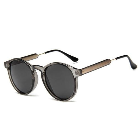 fashionable sunglasses with dark lenses and thin frames