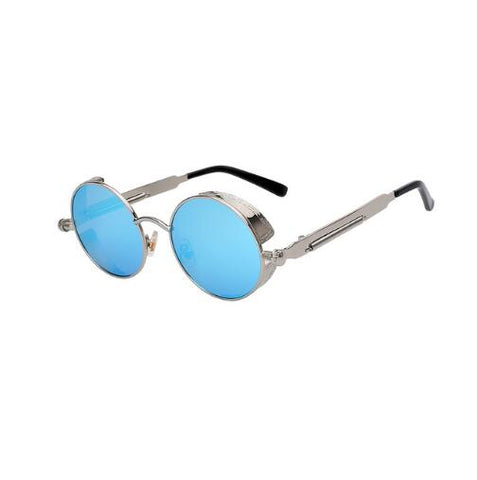 Silver circled framed sunglasses with light blue lenses