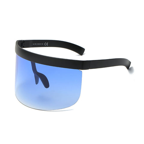 Half face visor type sunglasses with full blue lens