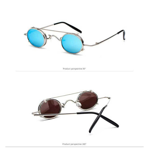 Small framed sunglasses with light blue lenses