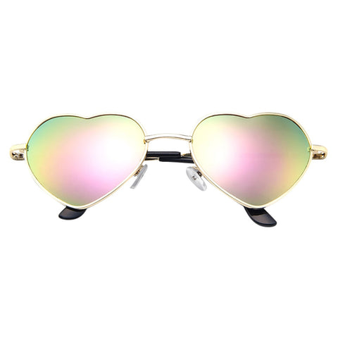 Heart shaped framed sunglasses with a pinking green lenses