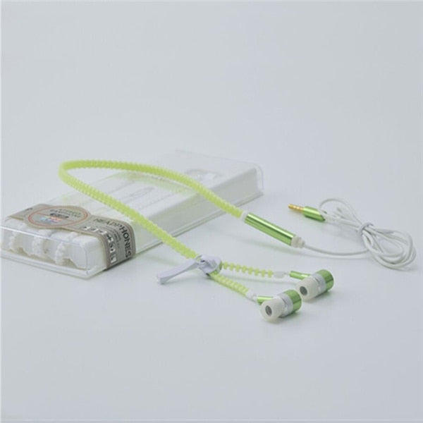 Luminous Glow in The Dark Zipper Ear Buds with Built in Mic