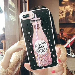 Sparkly Cute Pink Drink Liquid Glitter Phone Case