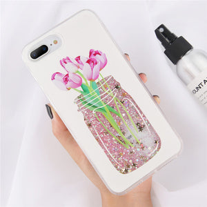 Sparkly Cute Flower Jar Liquid Glitter Quicksand Phone Case