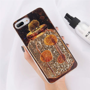 Sparkly Bear On A Jar Liquid Glitter Quicksand Phone Case