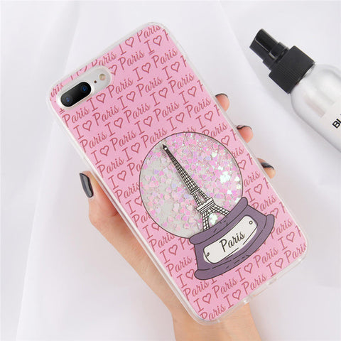 Sparkly Cute Paris Snowglobe Liquid Glitter Quicksand Phone Case