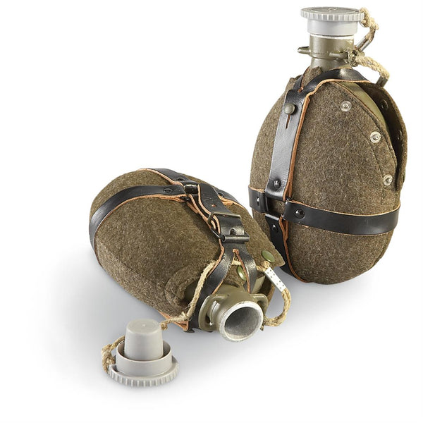 Czech Military Surplus Vintage Wool-Covered Canteen