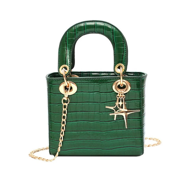 Later Days Croc Embossed Satchel Bag