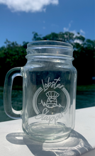 Lobster Slapper Logo Etched Glass Mason Jar