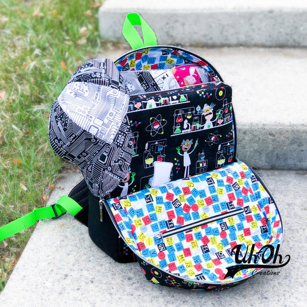 Backpack filled with projects in Stem Squad fabric