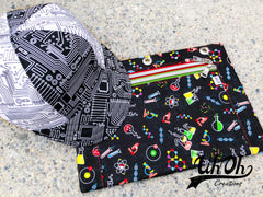 Cap and Pouch made from Stem Squad fabrics