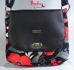 Jesse Crossbody in blacks and red