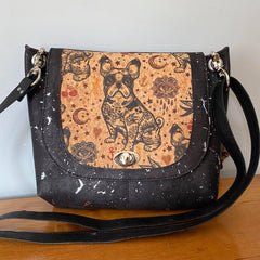 Puppy cork version of Jesse Crossbody with flap framing