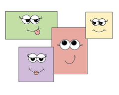 Cartoon squares and rectangles