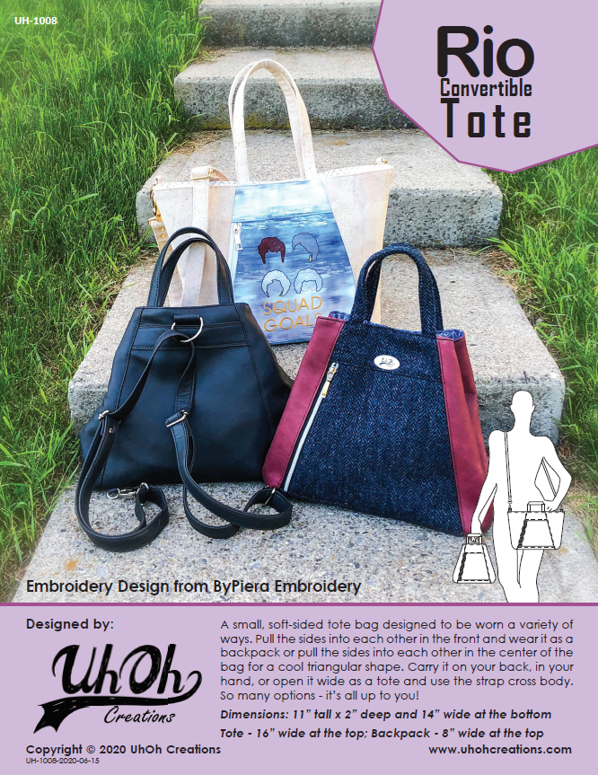 Rio Convertible Tote Pattern - PDF Download