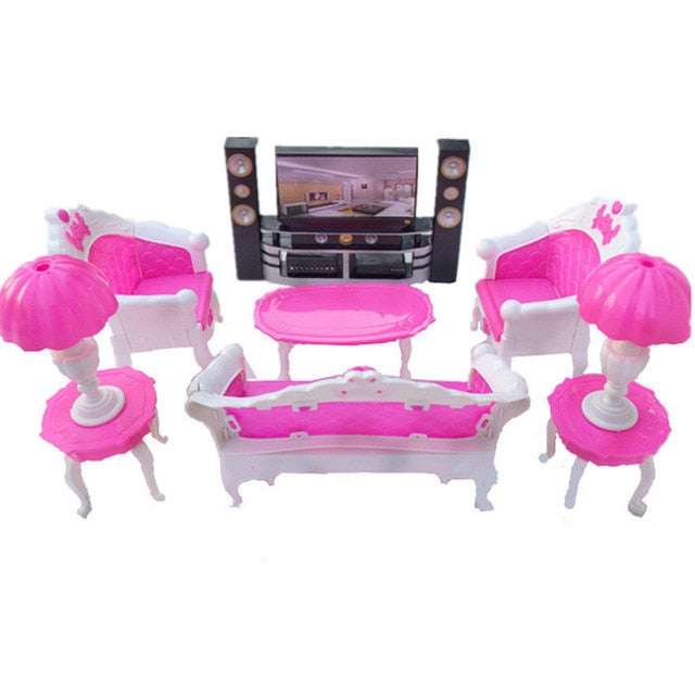 Doll Accessories Mini Furniture Living Room HiFi-TV Toys for Barbie Dolls  Girl Gift