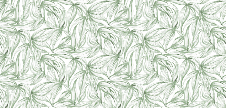 Girls room inspo mood board, watercolour painted green bamboo leaves on white background, kids bedding and fine art prints