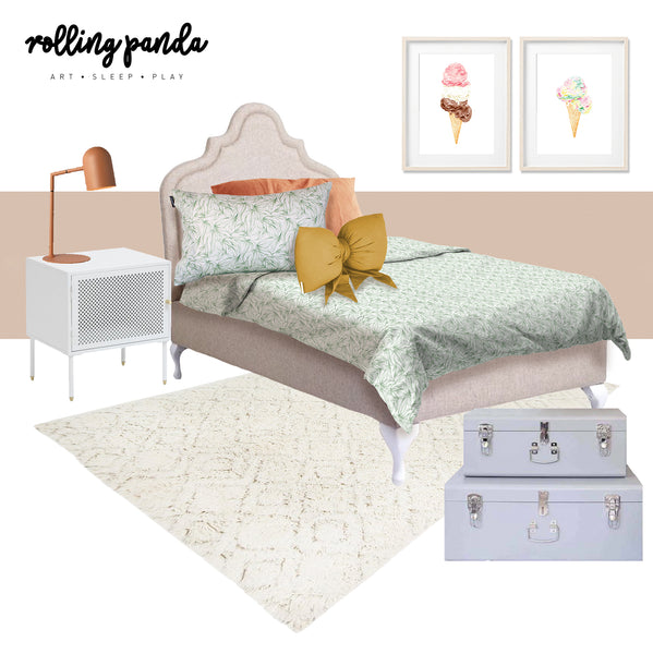 Rolling Panda-Mood board inspo girls room-Autumn-ice cream art print-panda dreams kids cotton bedding quilt cover set