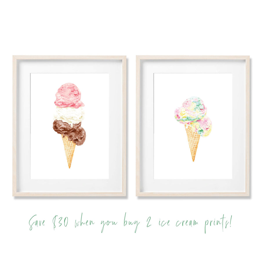 ice cream art print bundle offer save $30 rainbow triple treat neapolitan