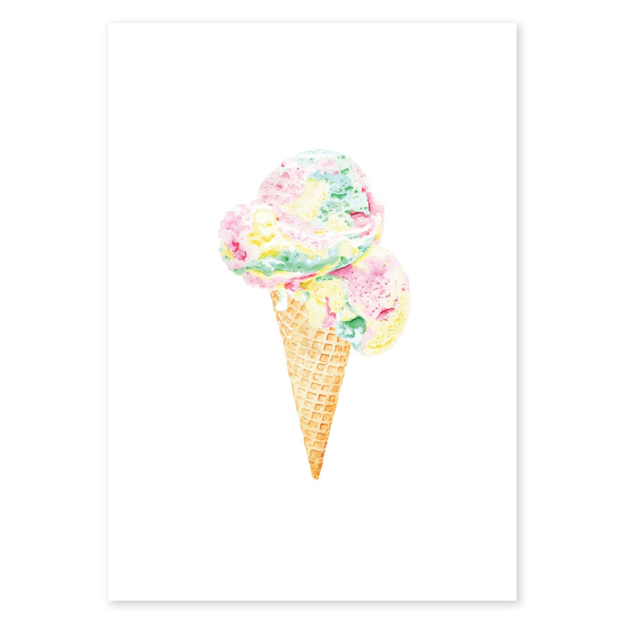 Rainbow scoops ice cream with waffle cone fine art print wall art colourful
