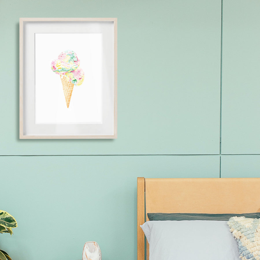 Rainbow Scoops Icecream- Fine Art Print - Rolling Panda
