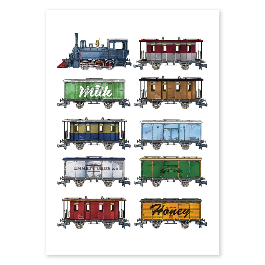 All Aboard locomotive vintage train collector Fine Art Print boys room wall art nursery Rolling Panda
