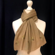 Load image into Gallery viewer, baby bees camel merino wool scarf