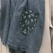 Load image into Gallery viewer, black panther merino wool shawl graphite grey