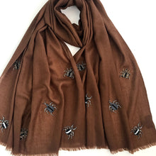 Load image into Gallery viewer, hand beaded bugs on merino wool shawl brown