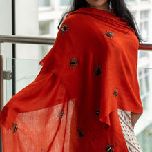Load image into Gallery viewer, hand beaded bugs on fine merino wool shawl orange