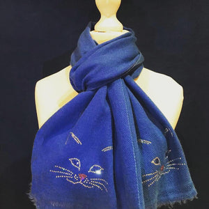 cutie cat fine merino wool scarf persian blue
