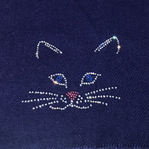 cutie cat embellishment on merino wool shawl